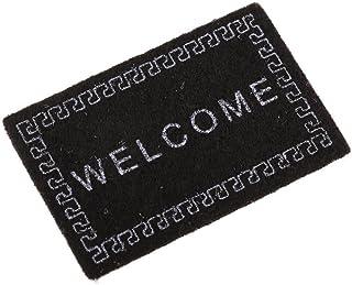 JVSISM Casa de munecas Alfombra Miniatura Bienvenida Alfombra Accesorios de casa de munecas Casa & Vida Tapetes de Escala 1/12 Negro