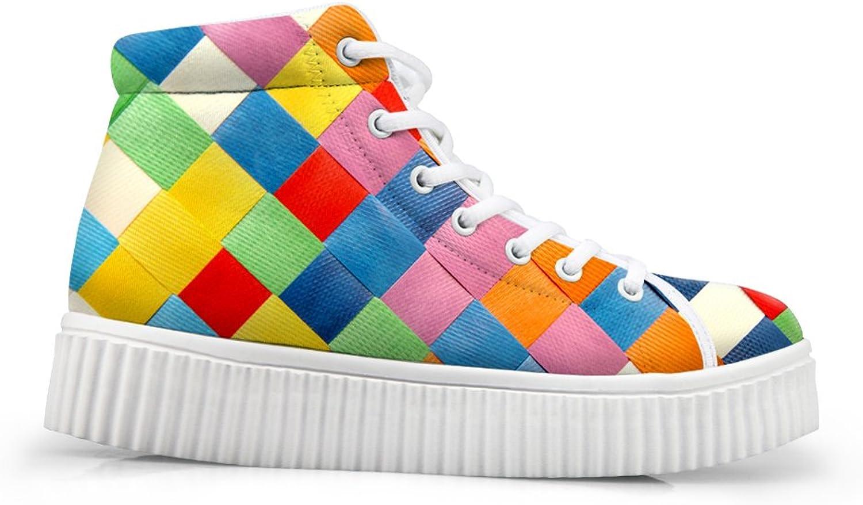 Classic Plaid Print Women Platform Sneaker Teens Light Walking shoes US 5