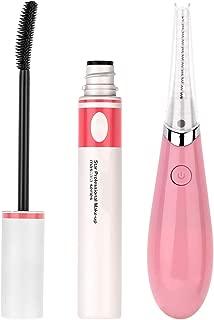 Heated Eyelash Curler with Mascara, YUSONG Mini Cute Warm Rechargeable Electric Eye Makeup Wand Eyelash Pen Eye Lashes Curler Curling Warmer Enhancer Eyelash Comb Beauty Tool (Pink)