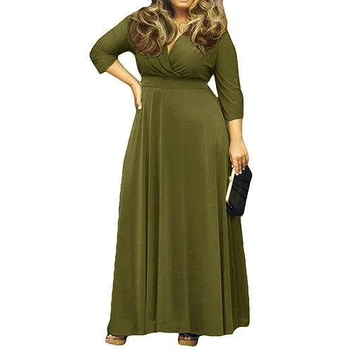 6d31908cd85 AM CLOTHES Womens V-Neck 3 4 Sleeve Plus Size Evening Party Maxi Dress