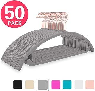 Premium Velvet Hangers (Pack of 50) Heavyduty- Non Slip No Shoulder Bump Suit Hangers - Copper/Rose Gold Hooks,Space Saving Clothes Hangers,Rounded Hangers for Coat,Sweater,Jackets,Pants,Shirt(Gray)
