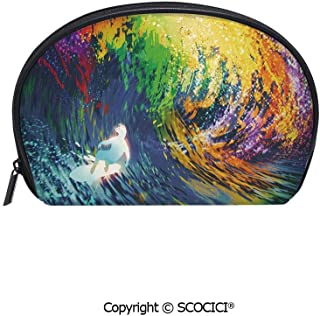 SCOCICI Polyester Printed Cosmetic Bag Storage Bag Exotic Surfer in the Ocean Waves with Featured Effects Sports Hobby Graphic Makeup Bag Toiletry Pouch