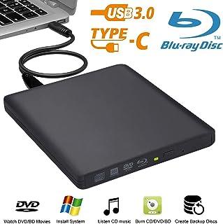 Unidad de Blu-Ray externa Biscon USB3.0 BD Reproductor de Blu-ray BD-RW CD/DVD Grabador para Mac MacBook Pro Air Laptop PC iMAC Windows 10