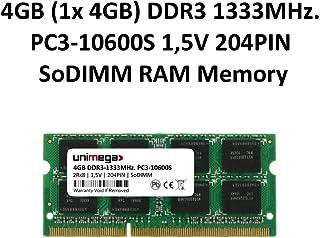 unimega - Memoria RAM DDR3 para portátil (4 GB, 1333 MHz, PC3-10600S, SODIMM, 204 pines, 1,5 V)