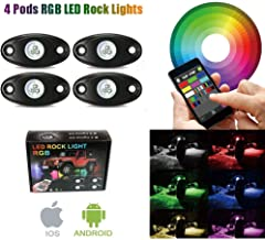 4 Pod Rgb Led Rock Lights Kits with Bluetooth Control Waterproof Neon Lights for Cars Jeep Off Road Truck SUV ATV (4 Pods)