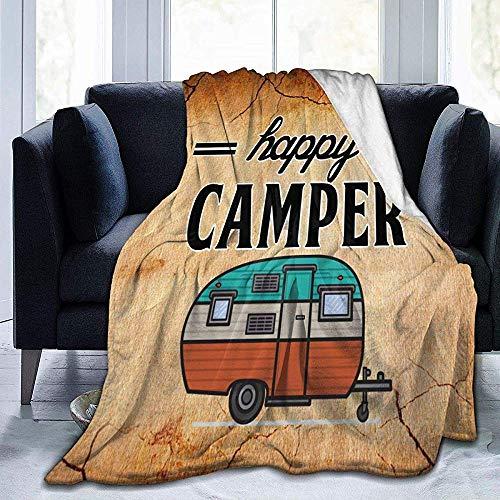 K.e.n Happy Camper Camping Deken Premium Microvezel Fleece Deken Gezellige Warm Bed Deken Bank Decoratief