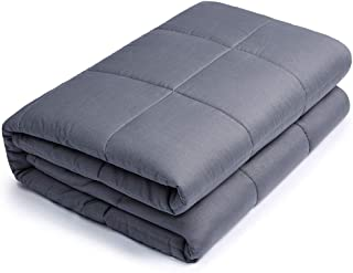 HOSUKKO Weighted Blanket, Individual Weighted 2.0 Heavy Blanket, 7-Layer Cooling Weighted Blanket, 100% New Cotton with Glass Beads Grey for Adults, Youths and Kids (60