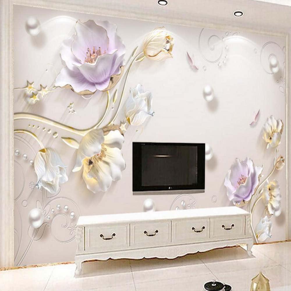 Mznm 2021 new 3D Embossed Tulip Flower Photo For Wallpaper Mural Max 81% OFF R Living