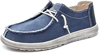 HBSSEE Driving Loafer for Men Boat Moccasins Lace Up Canvas Material Simple Casual Round Toe