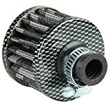 Mintice 12mm Mini Carbon Fiber Universal Car Motor Cone Cold Clean Air Intake Filter Turbo Vent Vehicle