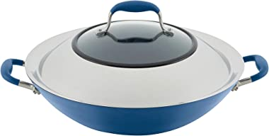 Anolon Advanced Home Hard-Anodized Nonstick Wok/Stir Fry Pan with Side Handles, 14-Inch, Indigo