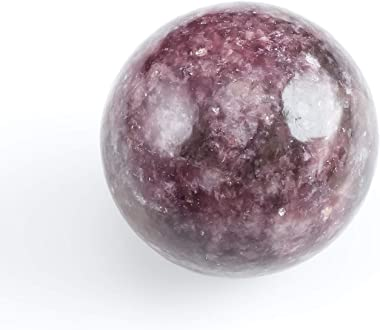LEPIDOLITE Crystal Sphere with Stand - One Genuine Natural Lepidolite Purple Stone, Reiki Crystals and Healing Stones E1169
