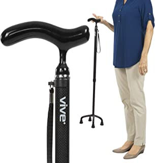 Vive Carbon Fiber Quad Cane - Ultra Lightweight Walking Stick For Men, Women - Adjustable Ergonomic Grip Handle - Nonslip Four Prong Rubber Tips For Right, Left Stability Support - Mobility Travel Aid