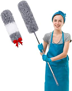 Microfiber Feather Duster Extendable Cobweb Duster with 100 inches Extra Long Pole, Bendable Head & Scratch-Resistant Hat ...