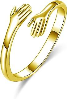 YMHOP 925 خواتم الفضة الاسترليني للنساء الفتيات الرجال أو للجنسين الفضة تعانق أيدي مفتوحة مجوهرات عناق خواتم بيان خواتم الحجم