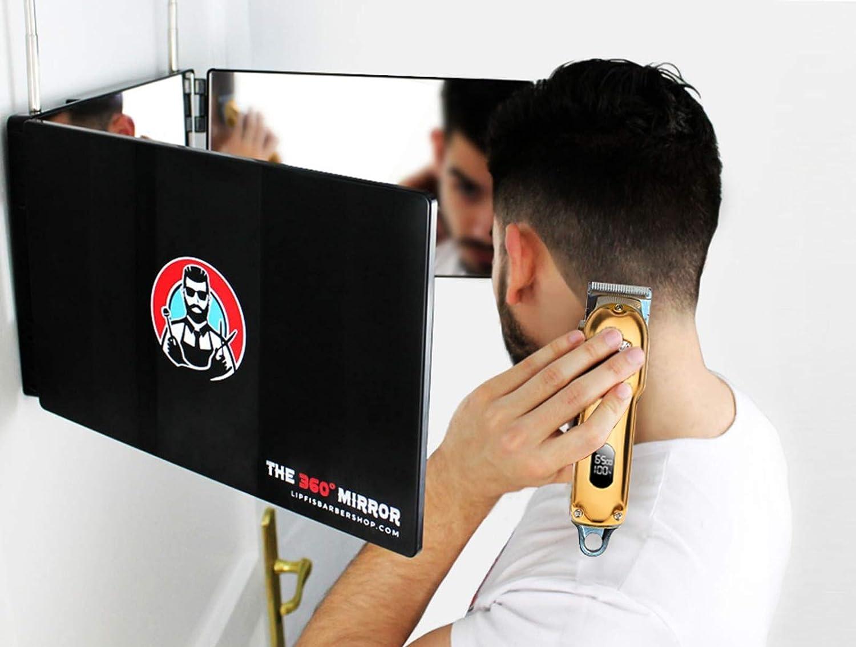Espejo 360º - Self Cut Mirror - Espejo con 3 Lados Plegable con Ganchos Adaptable en Todas Las Superficies (Solo Espejo 360)