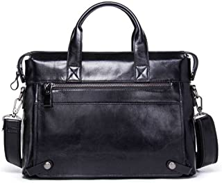 NYDZDM Mens Leather Briefcase Casual Tote Crossbody Shoulder Messenger Bag Handbag Satchel for Tablet Laptop 14 Inch (Color : Black)