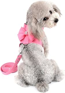 SELMAI Bling Rhinestone Dog Harness Bow Girls Soft Suede Leather for Small Pet Puppy Doggie Cat Girls Vest Collar Leash Set Adjustable/No Pull Chihuahua Yorkie Harness Working Running