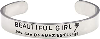 LParkin Beautiful Girl You Can Do Hard Things Inspirational Bracelet Self Esteem Daughter Gift Graduation Gift Do Hard Amazing Things Gifts for Her Motivational Girls Gift