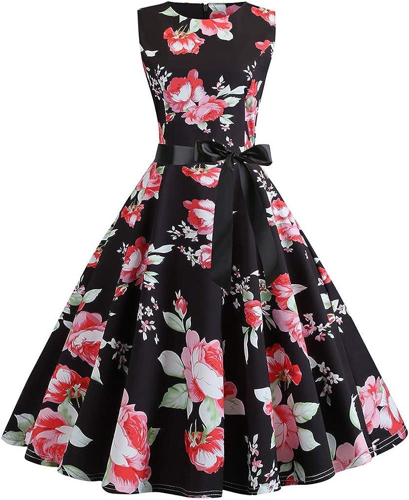 Women Summer Sacramento Mall Dreses Elegant Finally resale start Boatneck Dres Sleeveless Vintage Tea