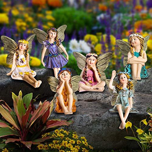 GloBrite Set of 6 Mini Fairies - Garden Outdoor Ornaments Decor Statue Accessories