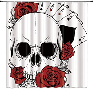 BCNEW Skull Shower Curtain Decor Casino Flower Red Rose Leaves Poker Cards Ace Bathroom Curtain Polyester Fabric Machine Washable with Hooks 70x70 Inches