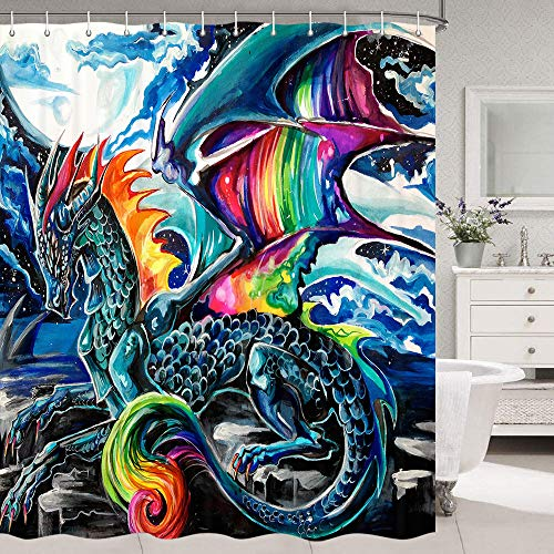 """Dragon Shower Curtain, Medieval Magic Fantasy Creative Magic Dragon Fabric Shower Curtain, Magic Animals Dragon Fabric Shower Curtain, Bathroom Showers Curtain Set with Hooks Include (69"""" WX70 H)"""