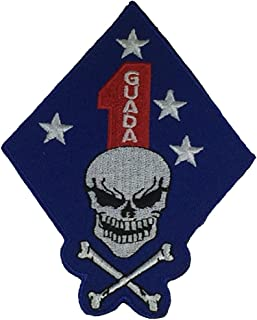 USMC 1ST MARINE DIVISION WITH SKULL AND CROSSBONES UNIT Patch - Color - Veteran Owned Business.