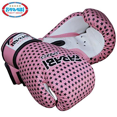 Farabi Kids boxing gloves, junior mitts, junior mma kickboxing Sparring gloves 4Oz pink stars