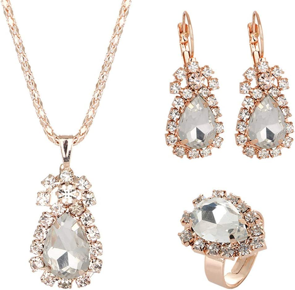 Idiytip Zircon Jewelry Set for Women Beautiful Banquet Accessory Created Water Drop Rhinestone Design Pendant Necklace Earrings Rings Set(White)