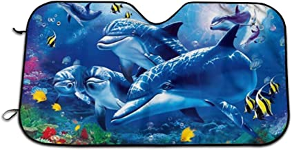 Blue Sea World Coral Dolphin Universal Car Windshield Sun Shade 27.5 X 51.2In Car Front Window Sunshade-UV Protection and Keeps Your Car Cool Heat-Universal Fit Easy Fold Storage