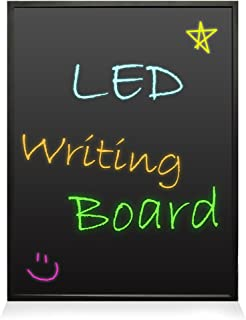 """35x24"""" Neon LED Light Board - Flashing Illuminated Erasable Message Writing Sign with Remote and 8 Fluorescent Markers for Bar, Bedroom, DIY Menu, Back to School Supply and More - Pyle PLWB6090"""