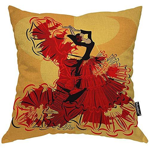 QDAS Kussensloop voor dames en meisjes, Spaanse danseres jurk, zwart, flamenco, kussensloop, katoen, linnen, vierkant, voor sofa bed oranje