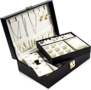 BEGHOME 2-Layer Leather Jewelry Box 36 Compartments Storage Case Bracelet Necklace Ring Bracelet Storage Box