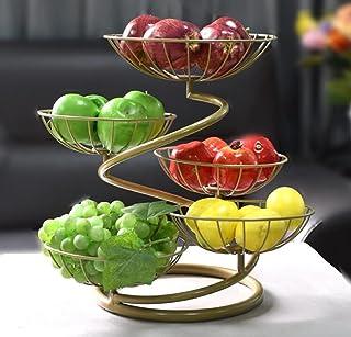 JUNYFFF Corbeille A Fruits 5 Etages, Grande Porte-Fruits en Acier Porte À Pain Panier À Fruit en Métal, Vintage Style Corb...