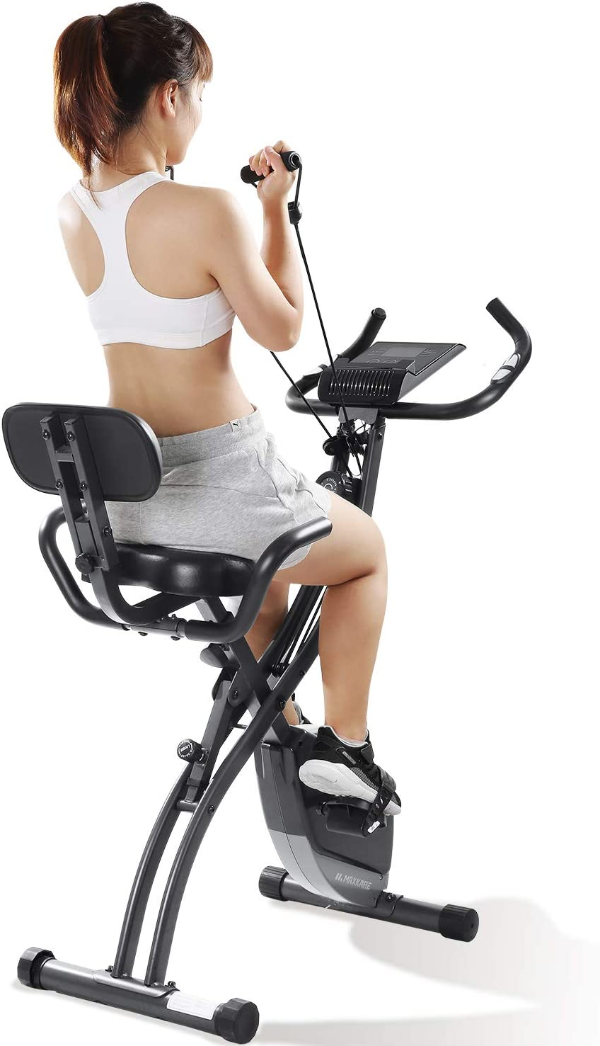 MaxKare Exercise Bike 3-in-1 Folding Stationary Bike Recumbent Exercise Bike Machine Home Seated Portable with Adjustable Arm Resistance Bands/LCD Monitor and Pulse Grip
