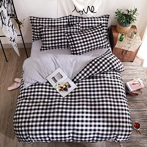 CTOBB textiel huis zwart gevlochten dekbedovertrek bedlaken eenpersoonsbed jongens meisjes beddengoedset 3-4 stuks eenpersoonsbeddengoed