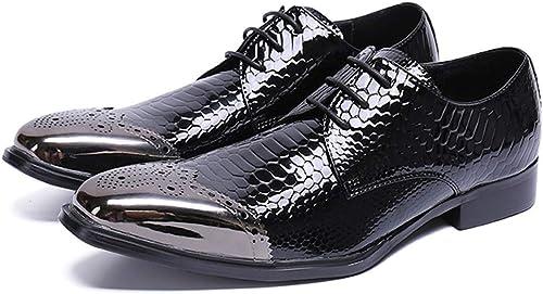 Rui Landed Oxford para Hombre zapatos Formales con Cordones de Estilo Cuero Genuino delicadeza Piel de Serpiente Brogue Metal Toe Discoteca