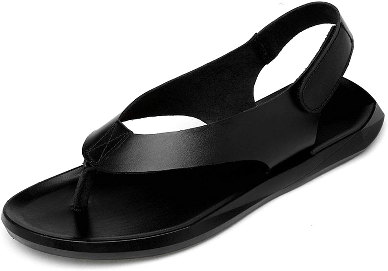 FINDDU sommar Man Genuine läder läder läder Sandals Mode Casual skor Flat läder Sandals, svart,7.5  köp 100% autentisk kvalitet