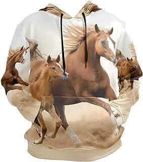 XiangHeFu Felpe con Cappuccio da Uomo Felpa con Cappuccio a Maniche Lunghe per Cavalli da Mamma e Figlio