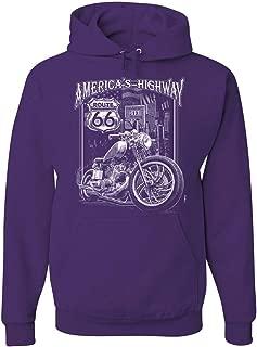 Tee Hunt America's Highway Hoodie Route 66 MC Motorcycle Chopper Bobber Sweatshirt