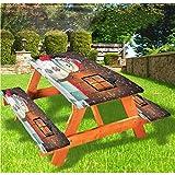 Mantel de mesa de picnic y banco de Navidad, para jardín, con caja de regalo, mantel de borde elástico, 28 x 72 pulgadas, juego de 3 piezas para camping, comedor, exterior, parque, patio