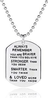 Barzel Inspirational Smarter, Braver & Stronger Dog Tag Chain