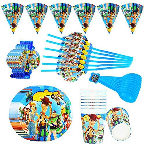 Lunriwis vajilla desechable de Toy Story, platos y vasos para cumpleaños,cumpleaños infantiles decoracion Servilletas Pancartas Utensilios para Niñas y Niño