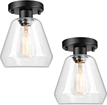 2-Pack Industrial Ceiling Light Semi Flush Mount Clear Glass Shade, Farmhouse Ceiling Light Fixture for Hallway Porch Kitc...
