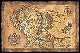 Close Up Pster El Seor de los Anillos Mapa de la Tierra Media (Oscuro) (91,5cm x 61cm)