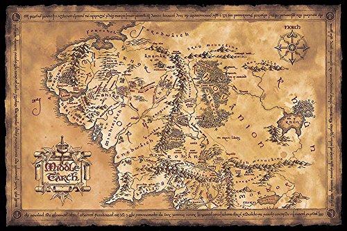 Close Up Póster El Señor de los Anillos - Mapa de la Tierra Media (Oscuro) (91,5cm x 61cm) 🔥