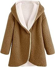 Sunmoot Teddy Bear Coat Hoodie Jacket for Women's Winter Sherpa Fleece Faux Fur Coat