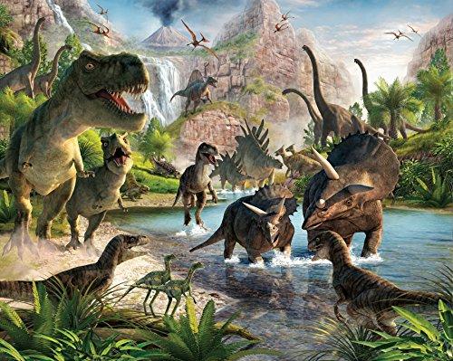 Walltastic WT41745 Land der Dinosaurier, Tapete, Wandbild, Mehrfarbig, 8 x 10 ft
