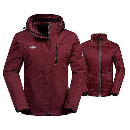 Wantdo Women s 3-in-1 Waterproof Ski Jacket Interchange Windproof Puffer  Liner Warm Winter a056d61e7